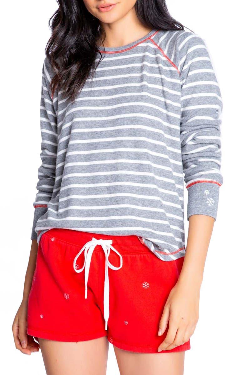 PJ SALVAGE Joyful Stripe Pajama Top, Main, color, HEATHER GREY