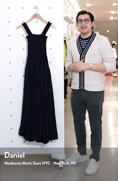 Smocked Bodice Silk Midi Dress, sales video thumbnail