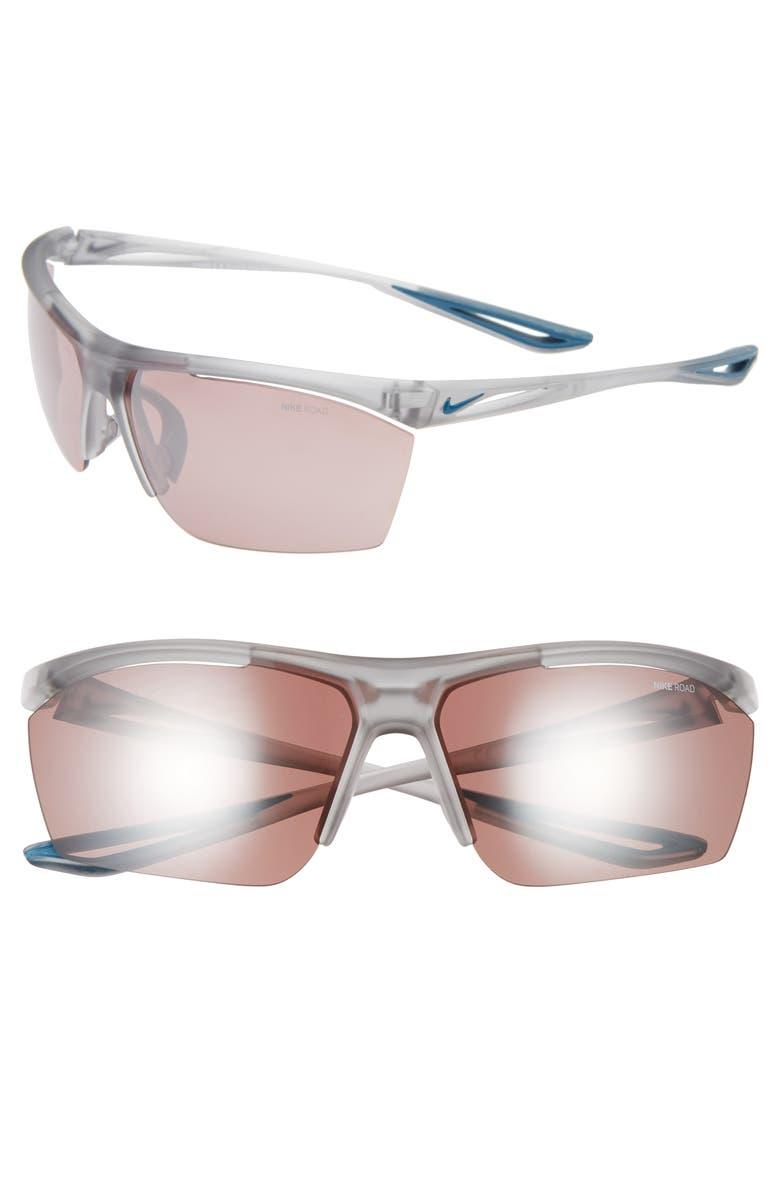 NIKE Tailwind 65mm Oversize Wrap Sport Sunglasses, Main, color, 020