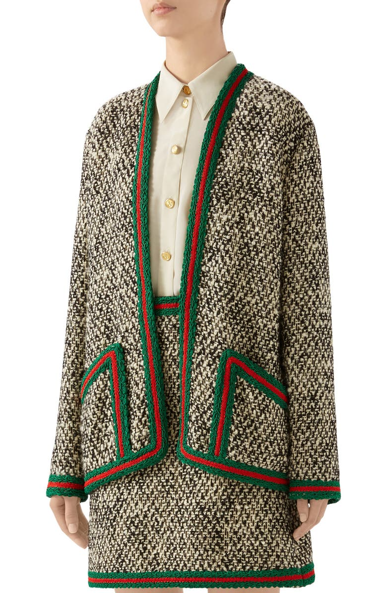 GUCCI Web Trim Wool Blend Tweed Jacket, Main, color, IVORY/ MIX