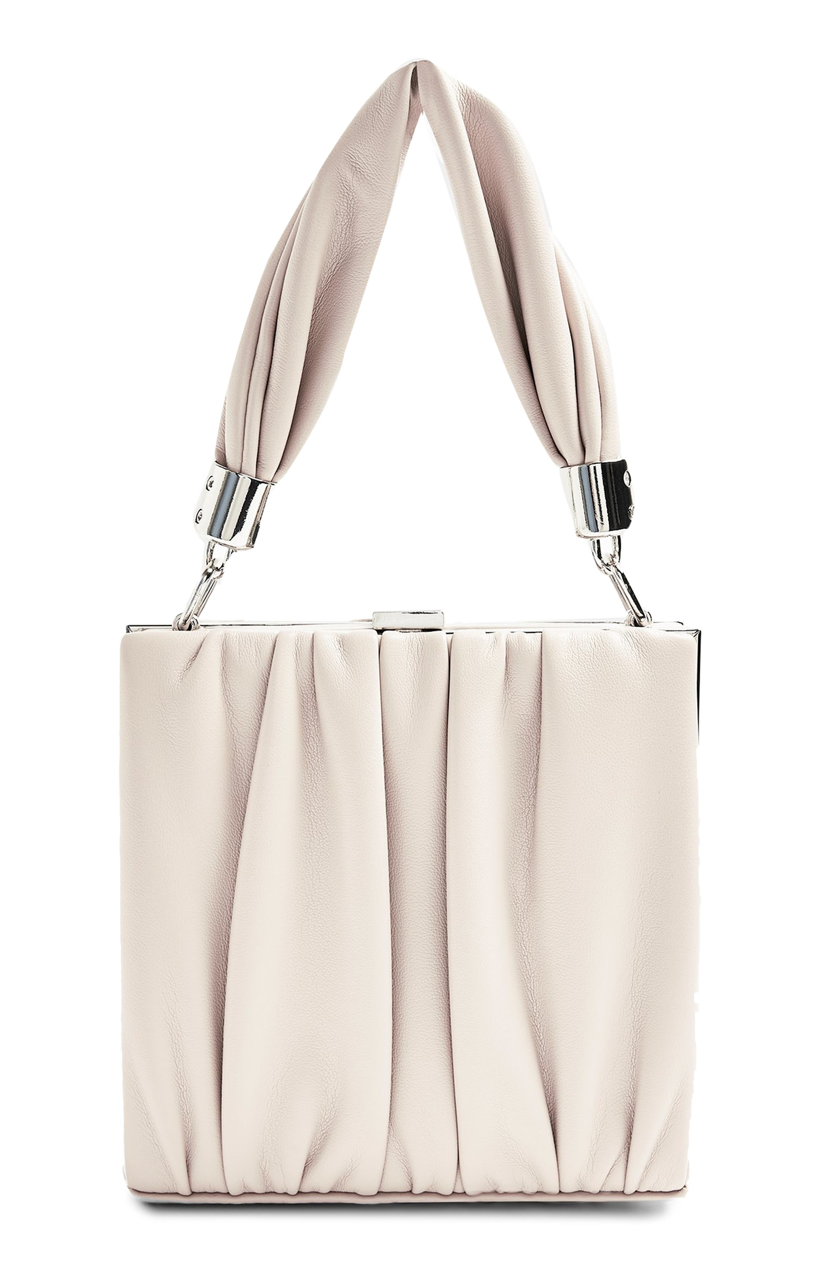 Image of TOPSHOP Pleated Faux Leather Grab Bag