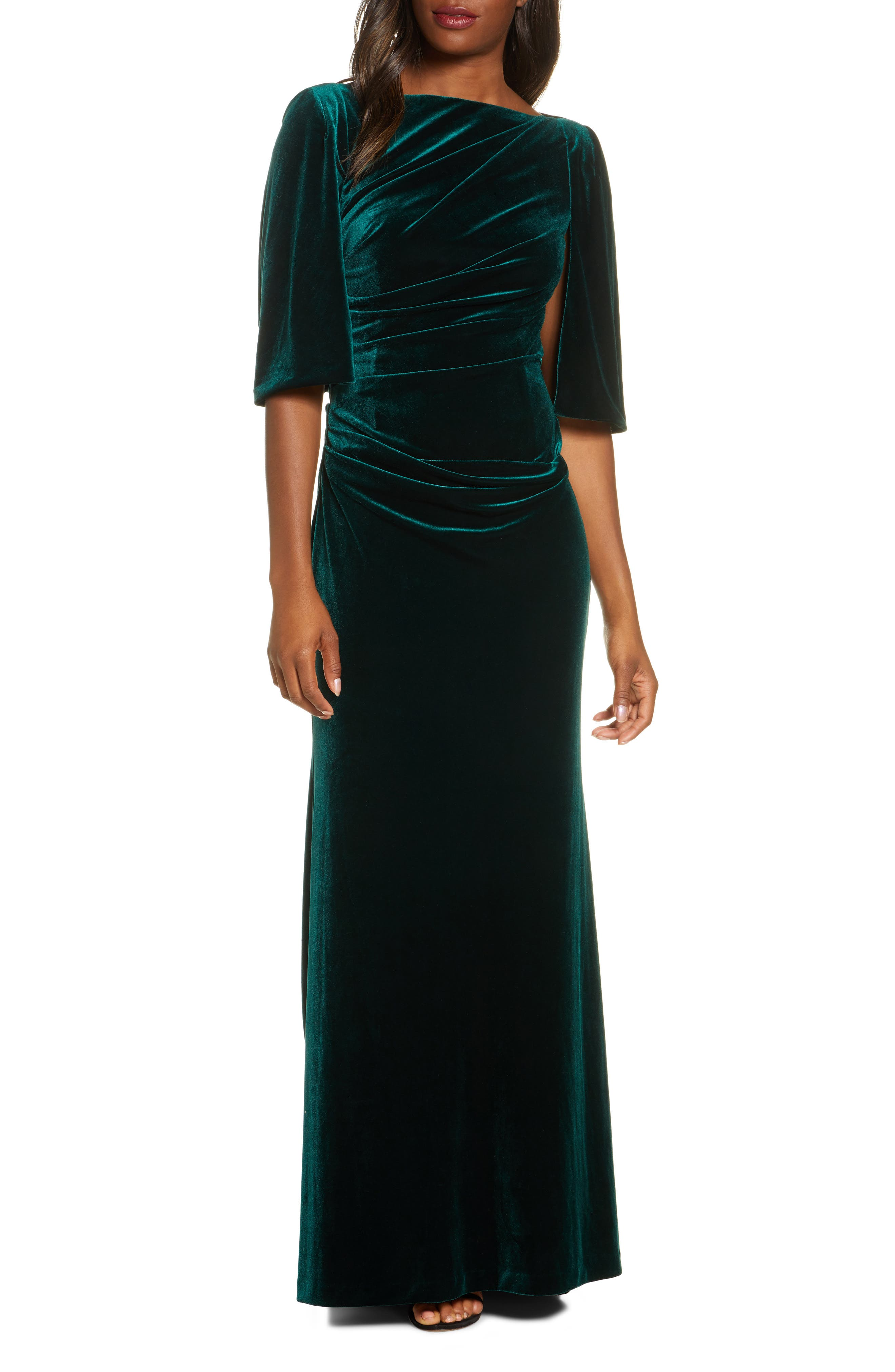 1940s Evening, Prom, Party, Formal, Ball Gowns Womens Eliza J Capelet Velvet Gown Size 14 - Green $188.00 AT vintagedancer.com