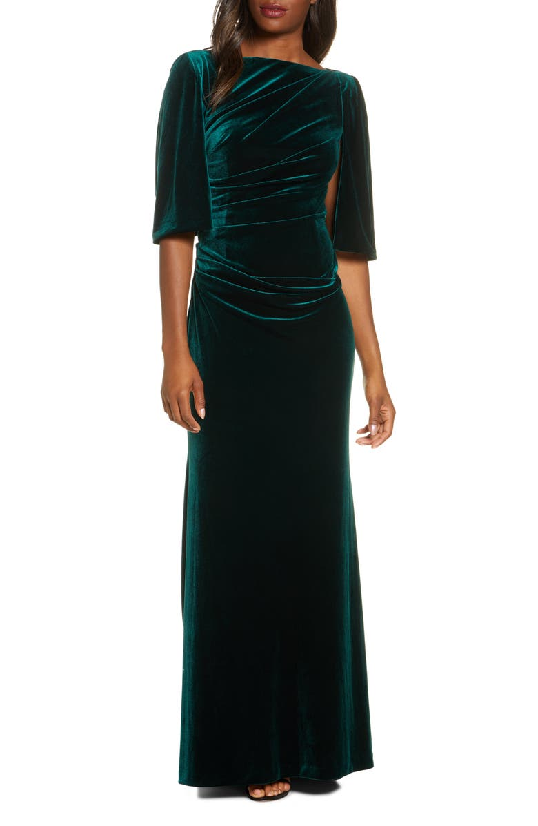 ELIZA J Capelet Velvet Gown, Main, color, 302