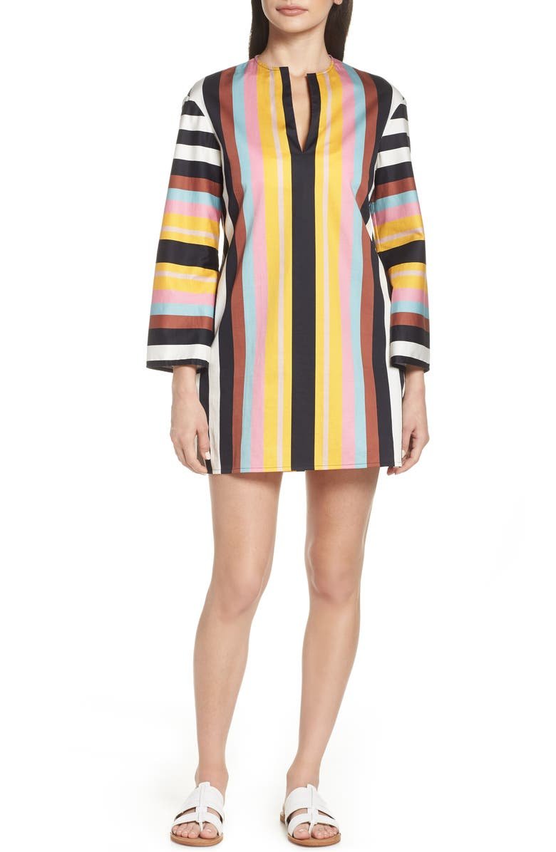 TORY BURCH Stripe Cover-Up Tunic, Main, color, 001
