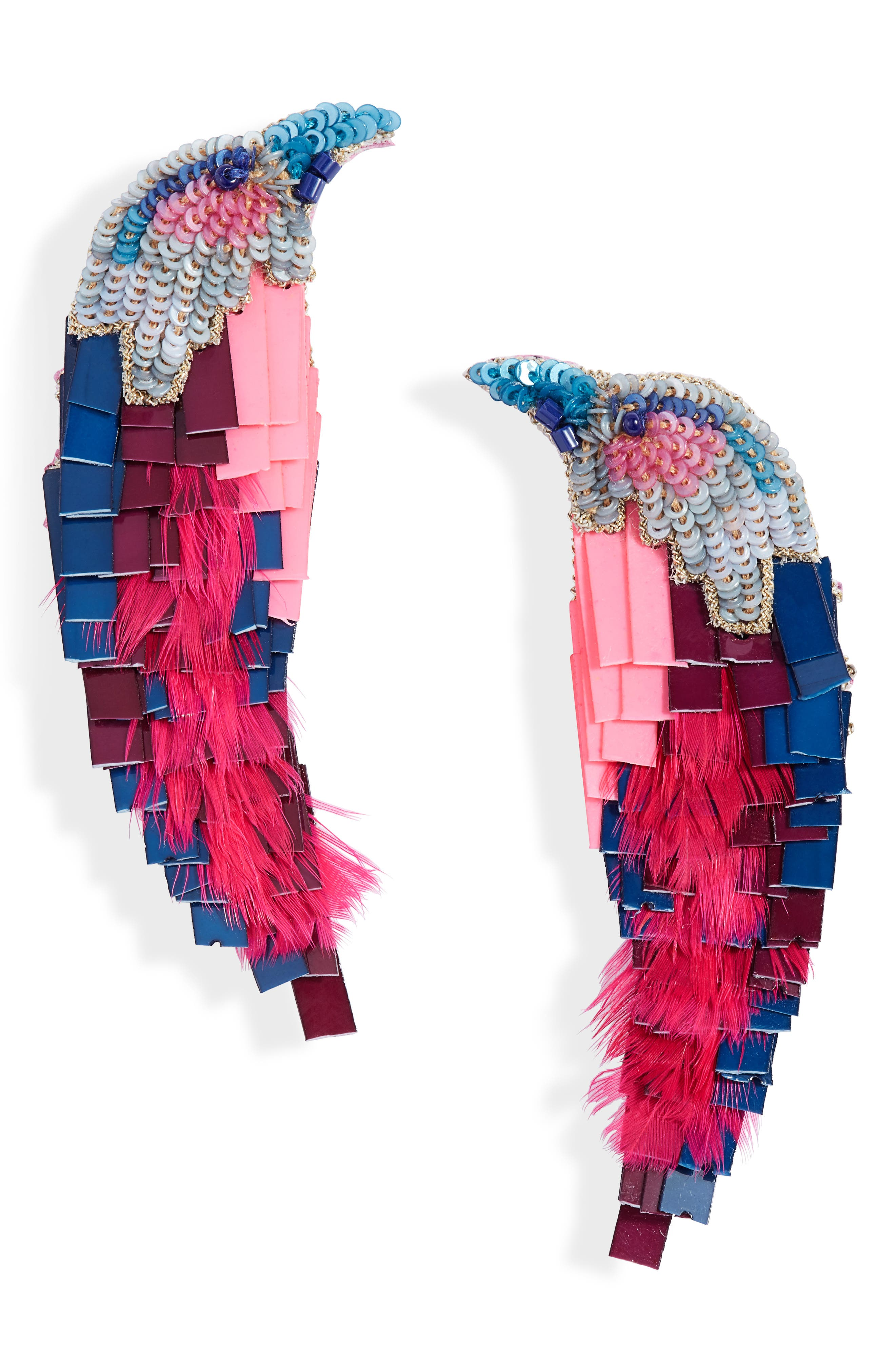 Hand-beaded statement earrings fringed in sequins, feathers and leather take inspiration from the South African lilac-breasted roller. Style Name: Mignonne Gavigan Bird Embellished Drop Earrings. Style Number: 5923037. Available in stores.