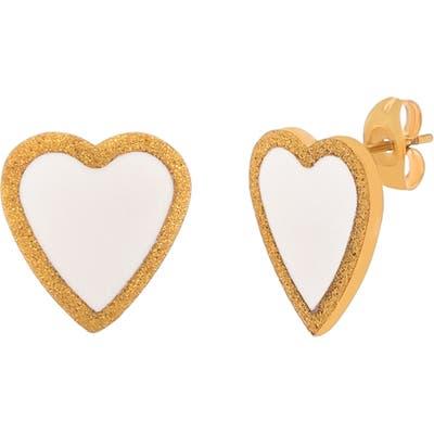 Lesa Michele Enamel Heart Stud Earrings