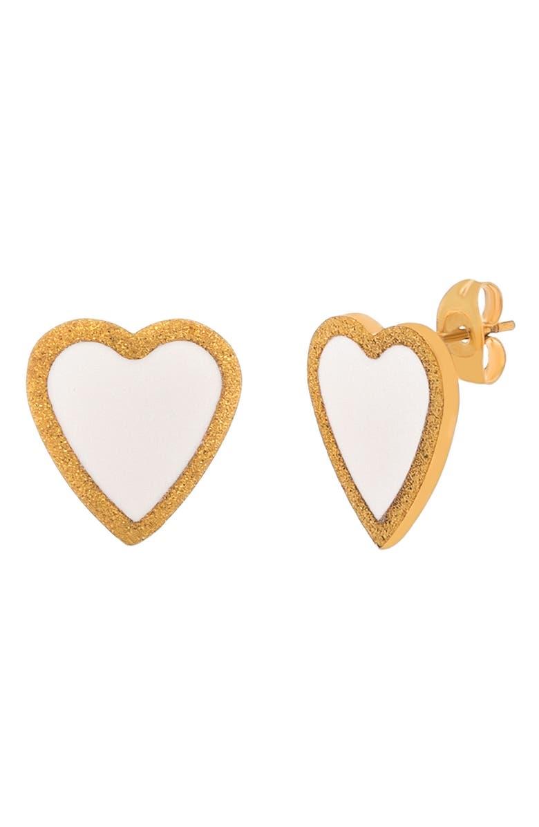 LESA MICHELE Enamel Heart Stud Earrings, Main, color, WHITE