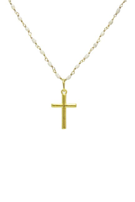 Image of Savvy Cie 18K Yellow Gold Japanese Seed Pearl Cross Necklace