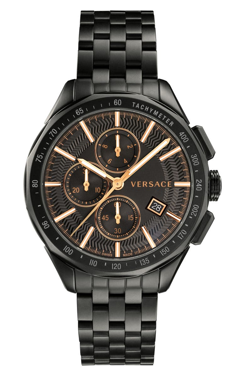 VERSACE Glaze Chronograph Bracelet Watch, 44mm, Main, color, 020