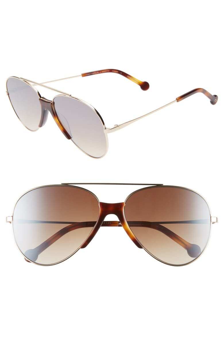 COLORS IN OPTICS Brasco 61mm Gradient Aviator Sunglasses, Main, color, GOLD/ HAVANA/ BROWN