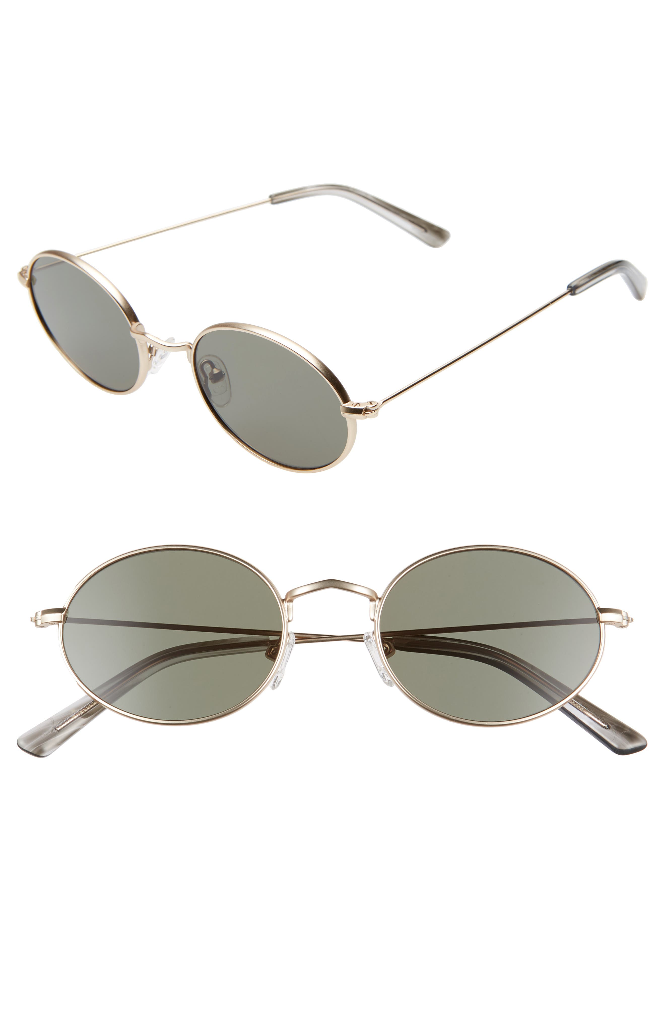 Madewell 50Mm Wire Rimmed Round Sunglasses - Gold/ Green