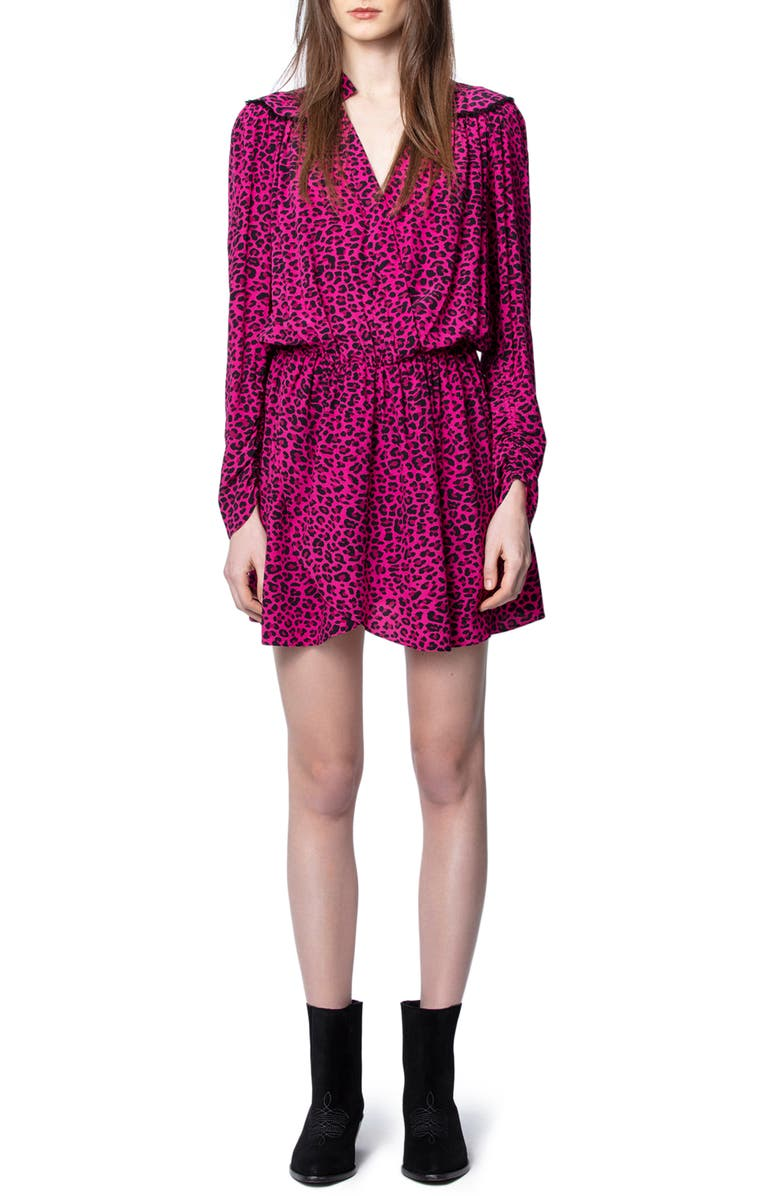 ZADIG & VOLTAIRE Reveal Leopard Print Long Sleeve Dress, Main, color, FRAMBOISE