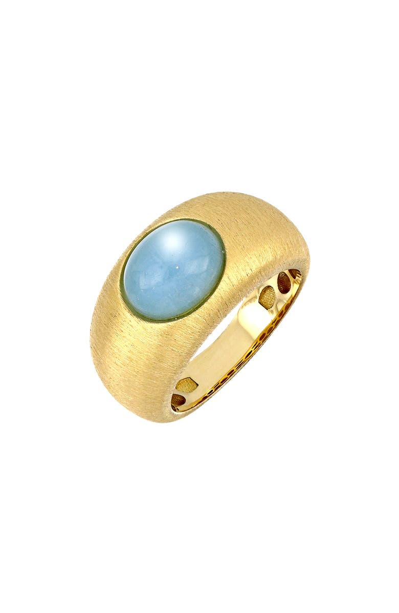 BONY LEVY Iris Milky Aquamarine Wide Ring, Main, color, YELLO GOLD/ AQUA
