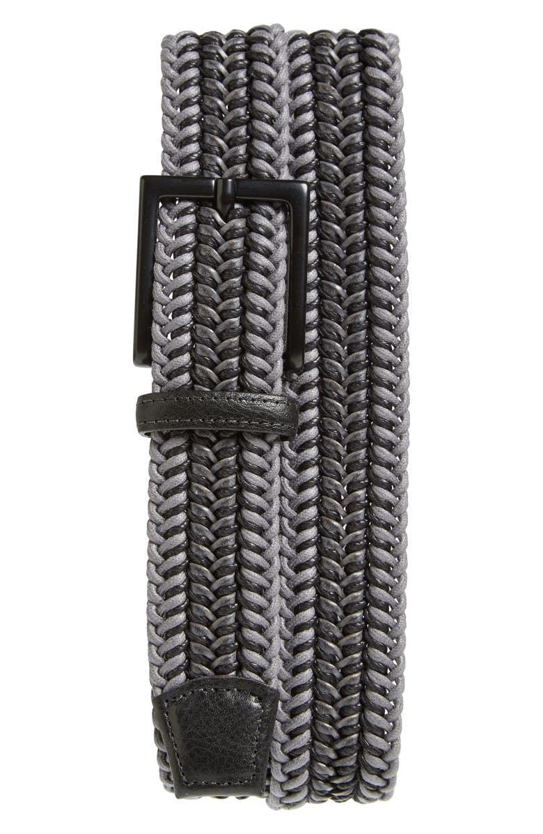 TORINO Woven Cotton & Leather Belt, Main, color, GREY/ BLACK
