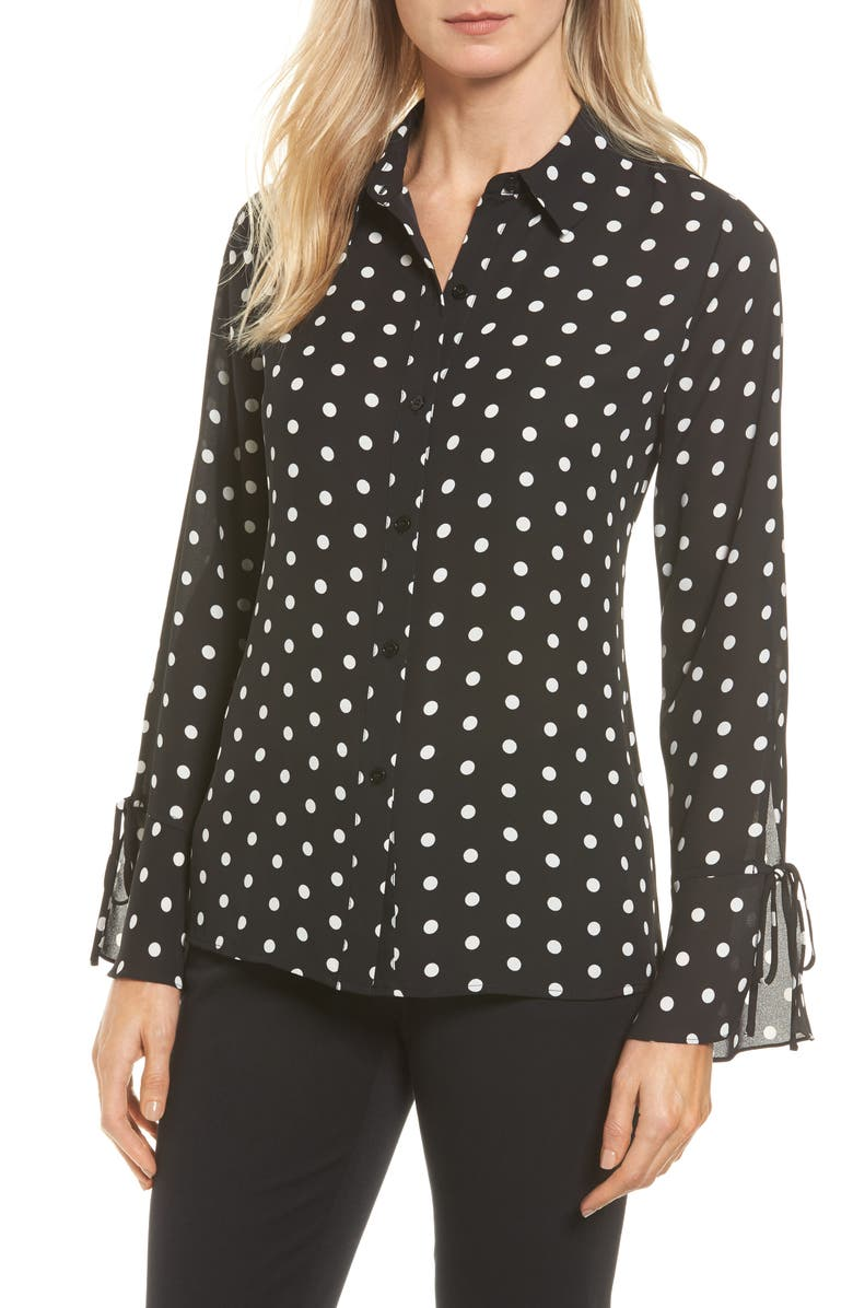 VINCE CAMUTO Flutter Cuff Polka Dot Blouse, Main, color, 006
