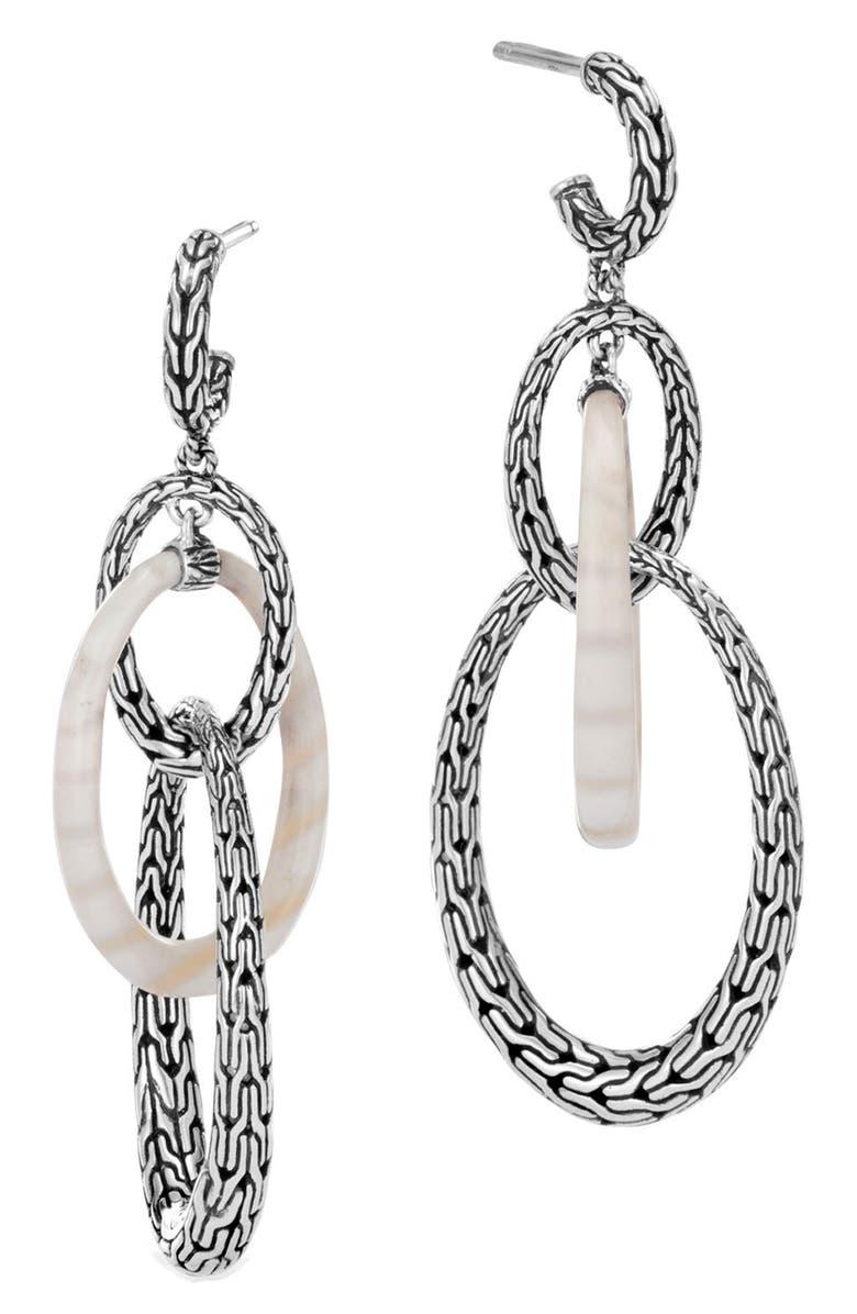 John Hardy Classic Chain Silver White Agate Drop Earrings