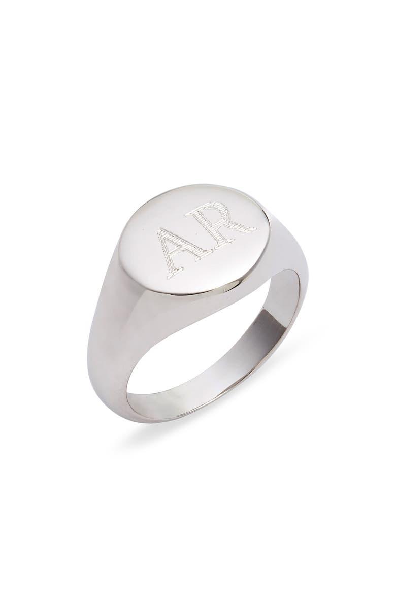 ARGENTO VIVO STERLING SILVER Argento Vivo Personalized Signet Ring, Main, color, SILVER