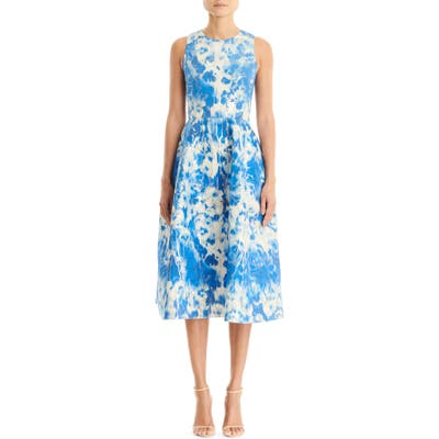 Carolina Herrera Metallic Jacquard Fit & Flare Dress, Blue