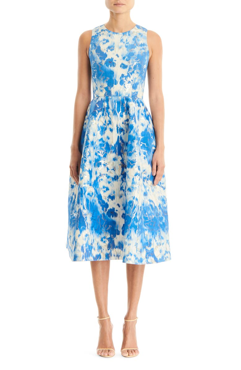 Carolina Herrera Metallic Jacquard Fit Flare Dress Nordstrom