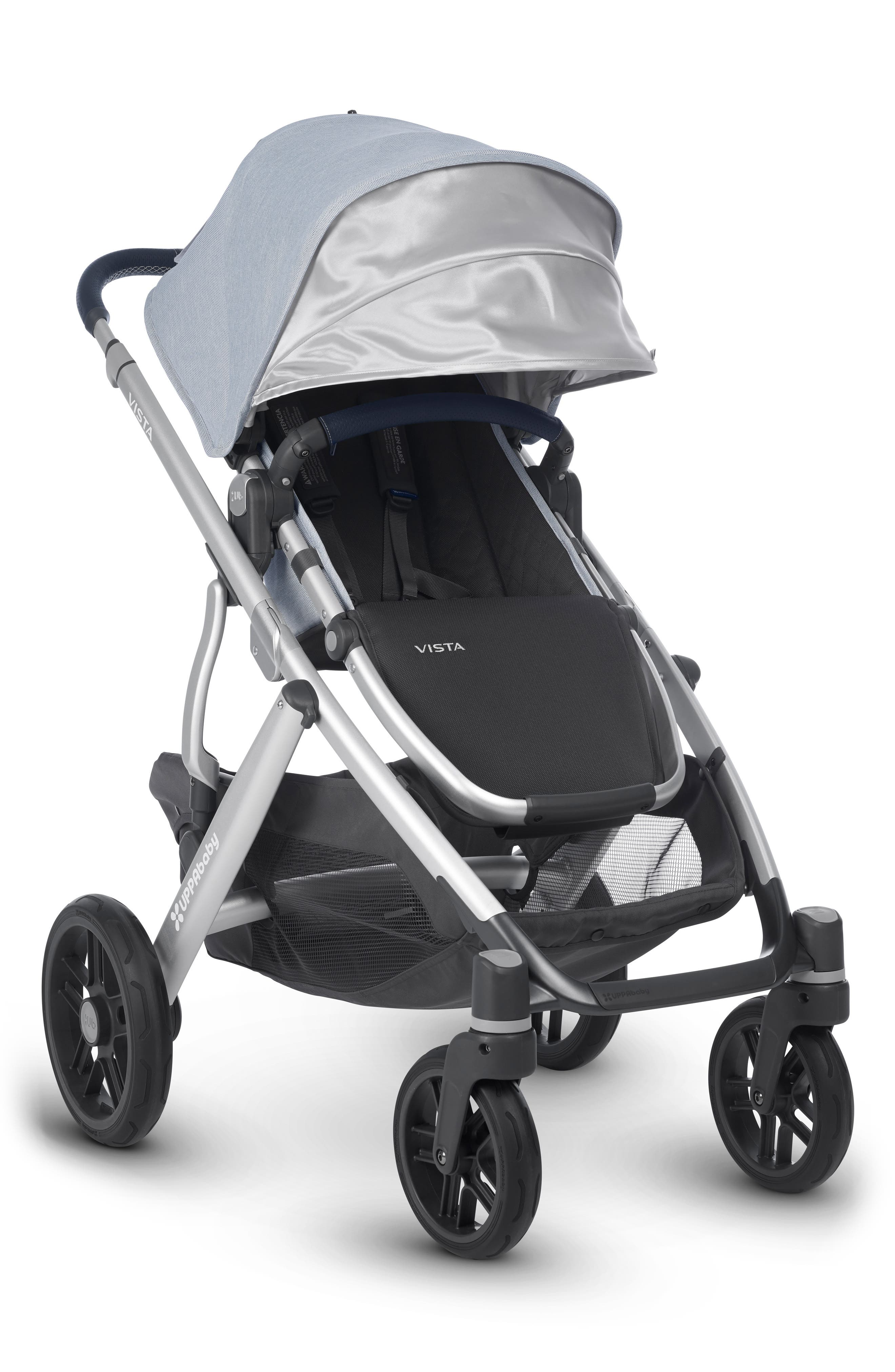 ,                             VISTA Aluminum Frame Convertible Complete Stroller with Leather Trim,                             Alternate thumbnail 6, color,                             WILLIAM BLUE/ SILVER