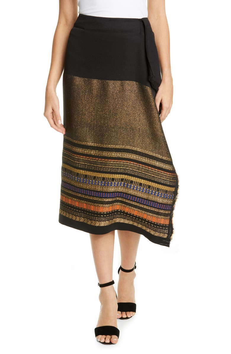 ZERO + MARIA CORNEJO Miro Metallic Jacquard Faux Wrap Skirt, Main, color, BLACK/ GOLD MULTI