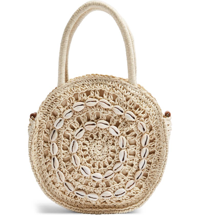TOPSHOP Shell Straw Round Grab Bag, Main, color, NUDE