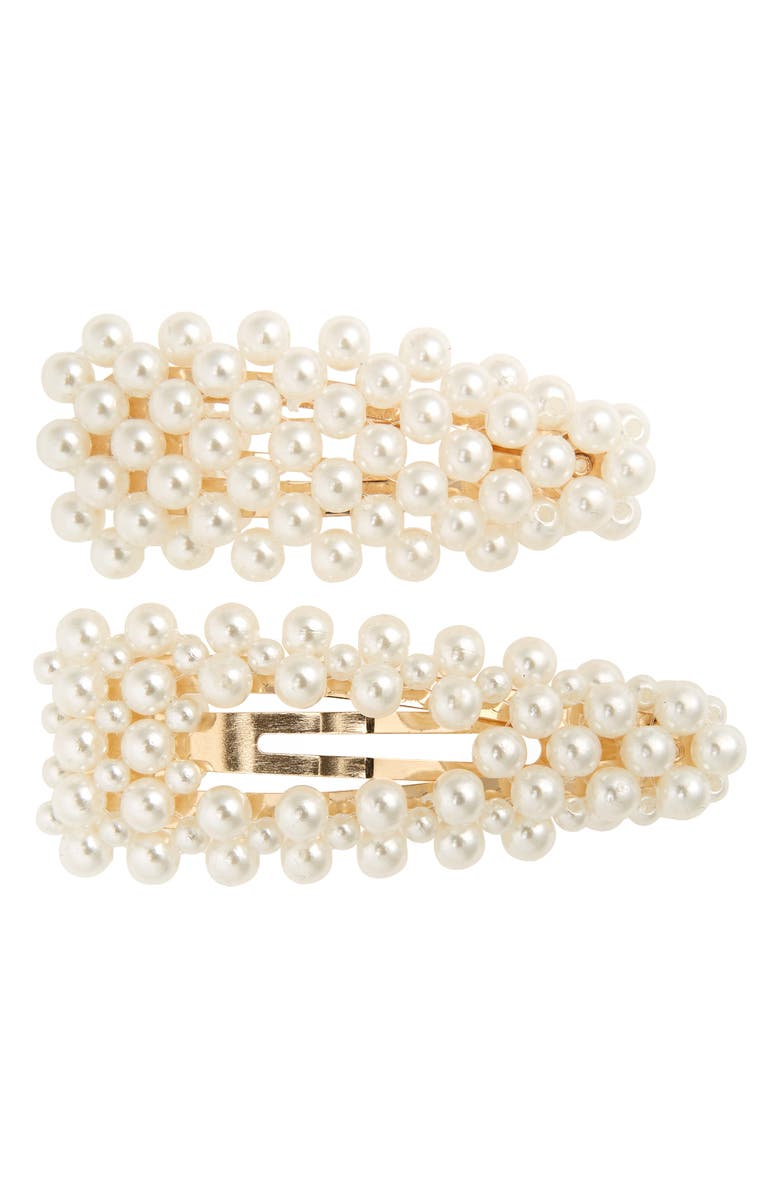 BP. 2-Pack Imitation Pearl Hair Clips, Main, color, IVORY