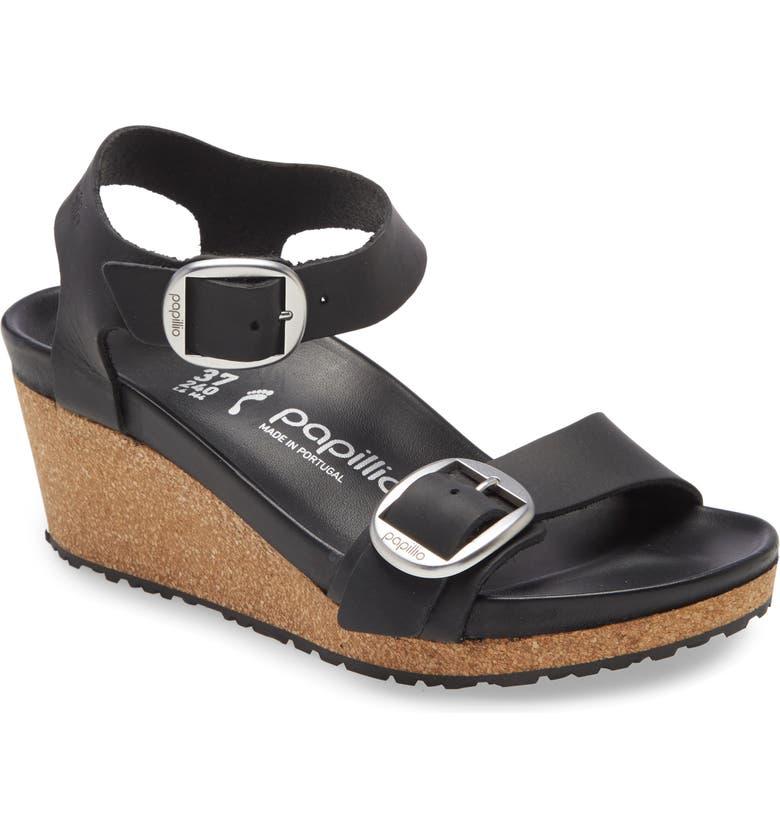BIRKENSTOCK Soley Wedge Sandal, Main, color, BLACK OILED LEATHER