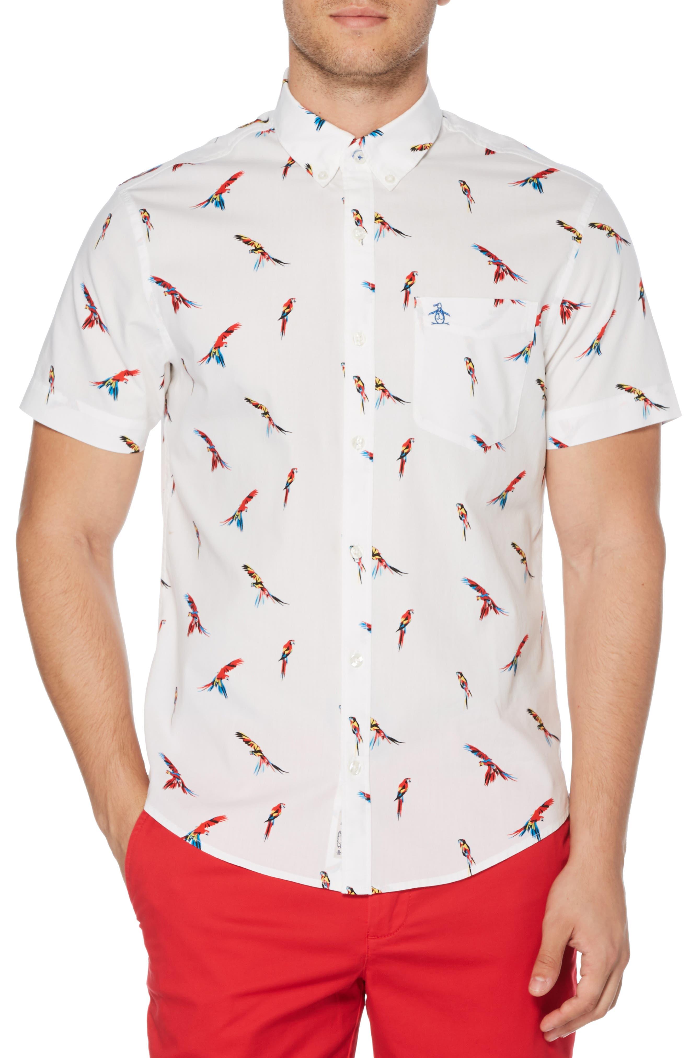 ,                             Parrot Print Slim Fit Woven Shirt,                             Main thumbnail 1, color,                             BRIGHT WHITE