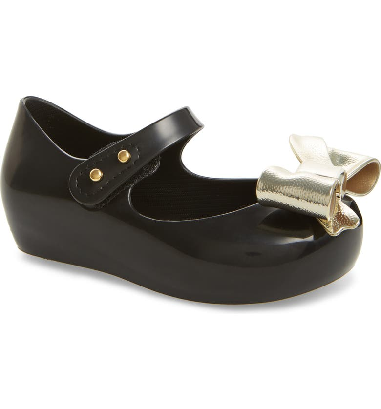 MINI MELISSA Ultragirl Bow Wedge Mary Jane, Main, color, BLACK GOLD