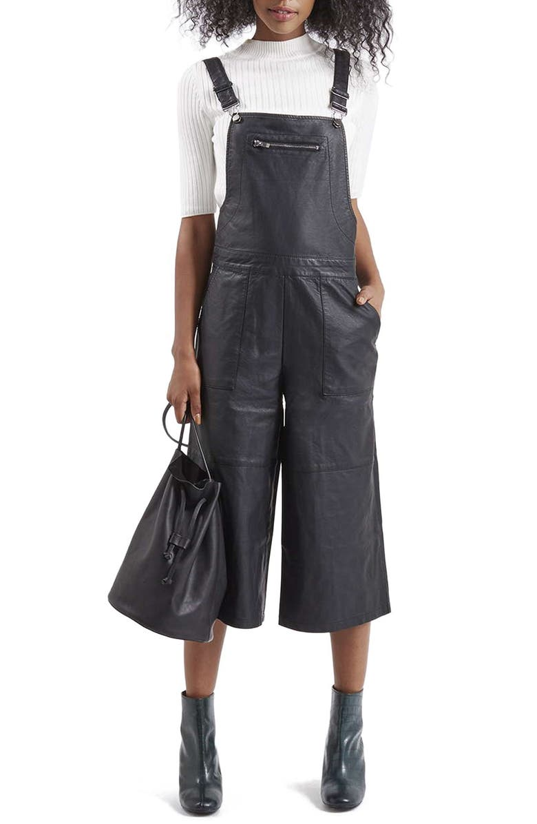 TOPSHOP Faux Leather Culotte Overalls, Main, color, 001