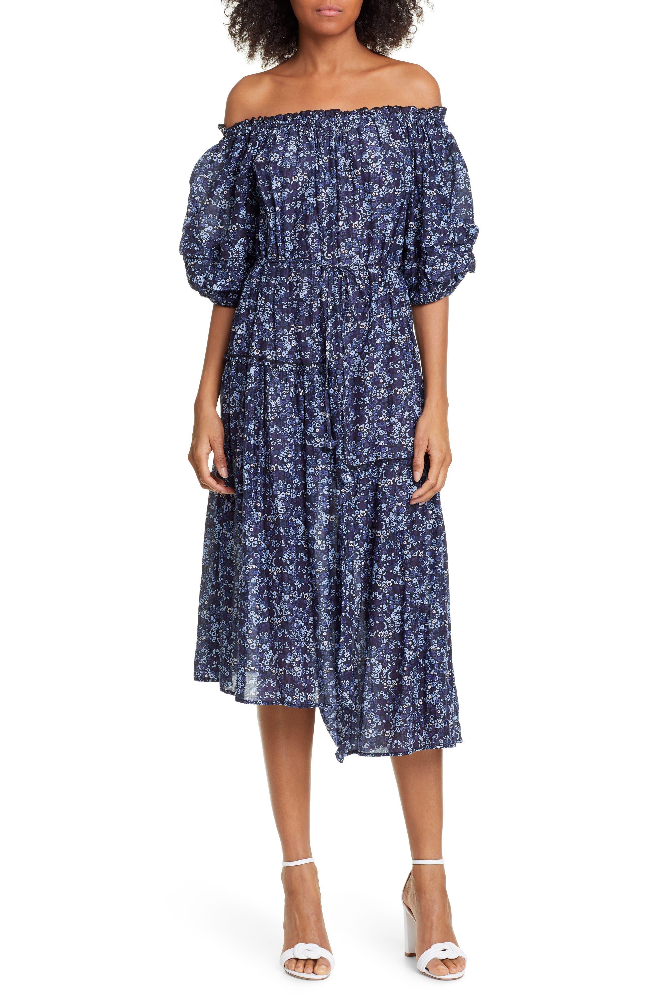 Apiece Apart Sandrine Cotton & Silk Off The Shoulder Dress, Blue