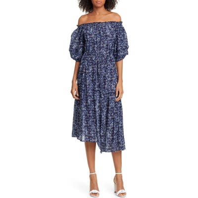 Apiece Apart Sandrine Cotton & Silk Off The Shoulder Dress, Blue