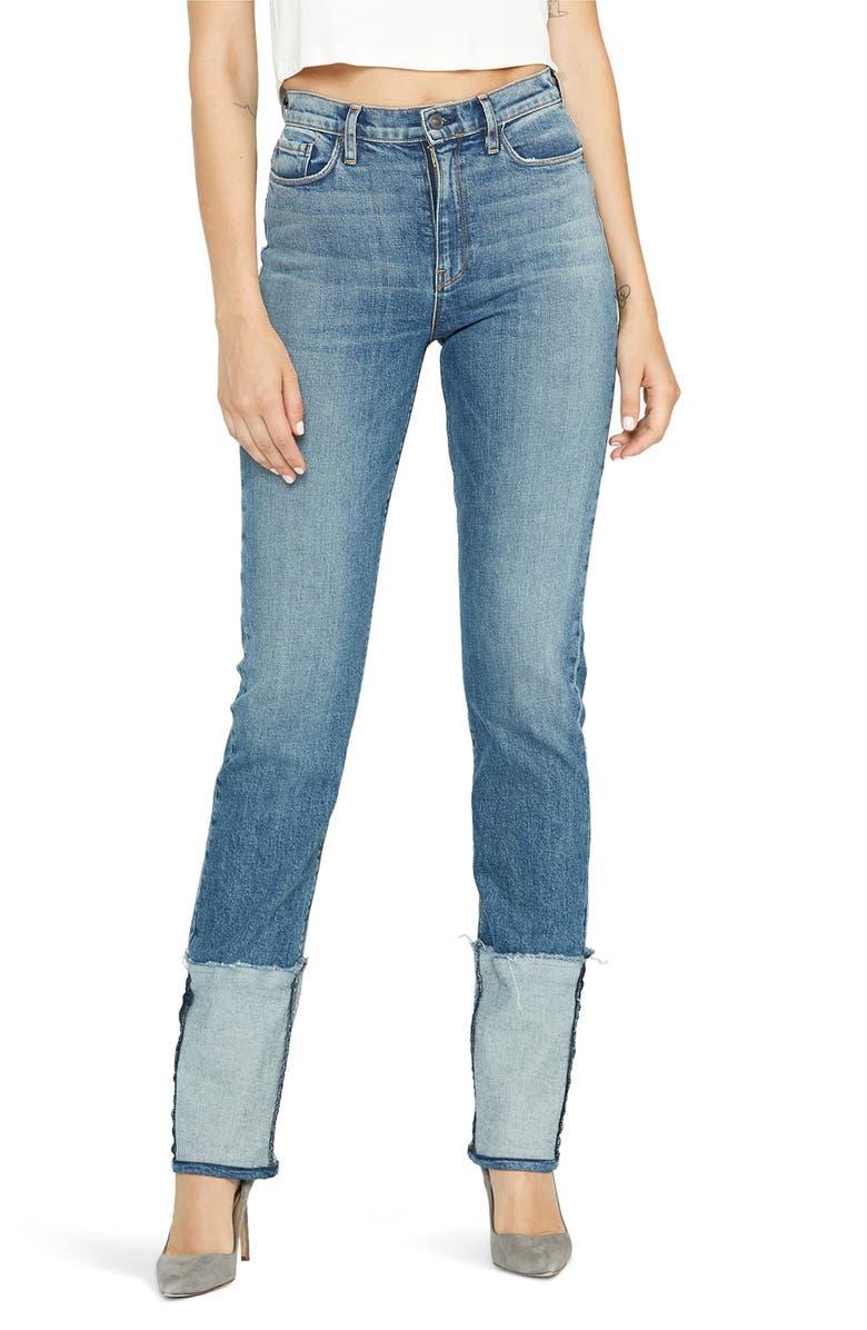 HUDSON JEANS Holly Reverse Hem High Waist Straight Leg Jeans, Main, color, 460