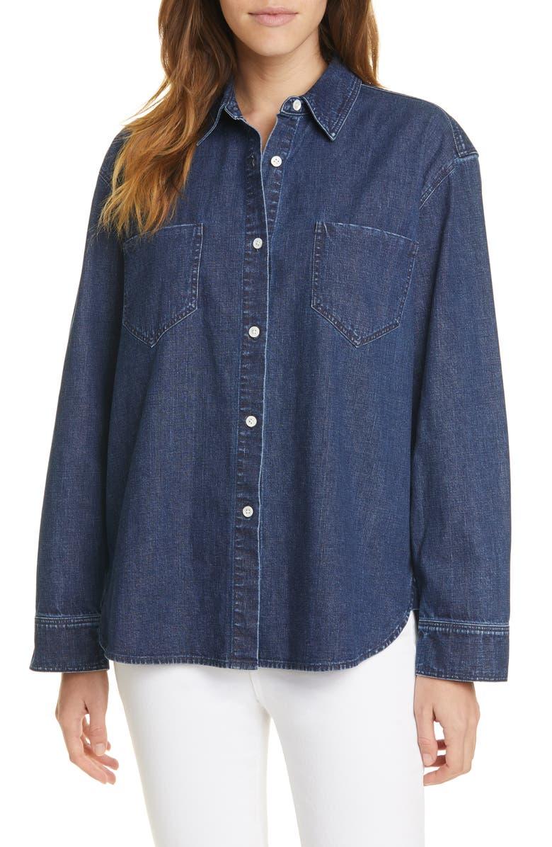 JENNI KAYNE O'Keeffe Denim Button-Up Shirt, Main, color, BLUE