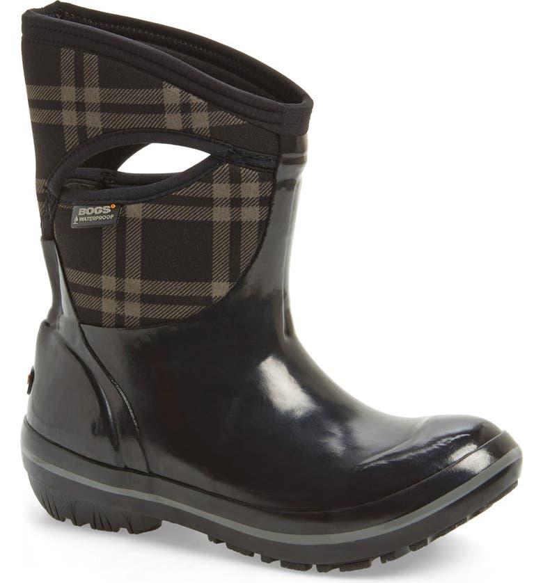 BOGS 'Plimsoll Plaid' MidWaterproof Snow Boot, Main, color, Black