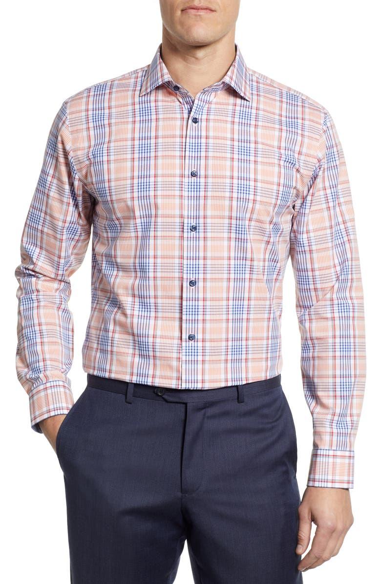 NORDSTROM MEN'S SHOP Trim Fit Non-Iron Plaid Dress Shirt, Main, color, CORAL REEF