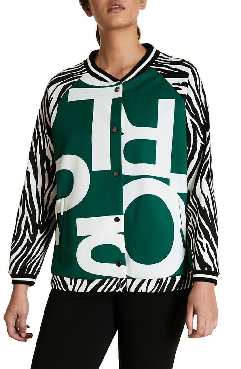 MARINA RINALDI Ocraceo Mix Print Scuba Bomber Jacket, Main, color, DARK GREEN