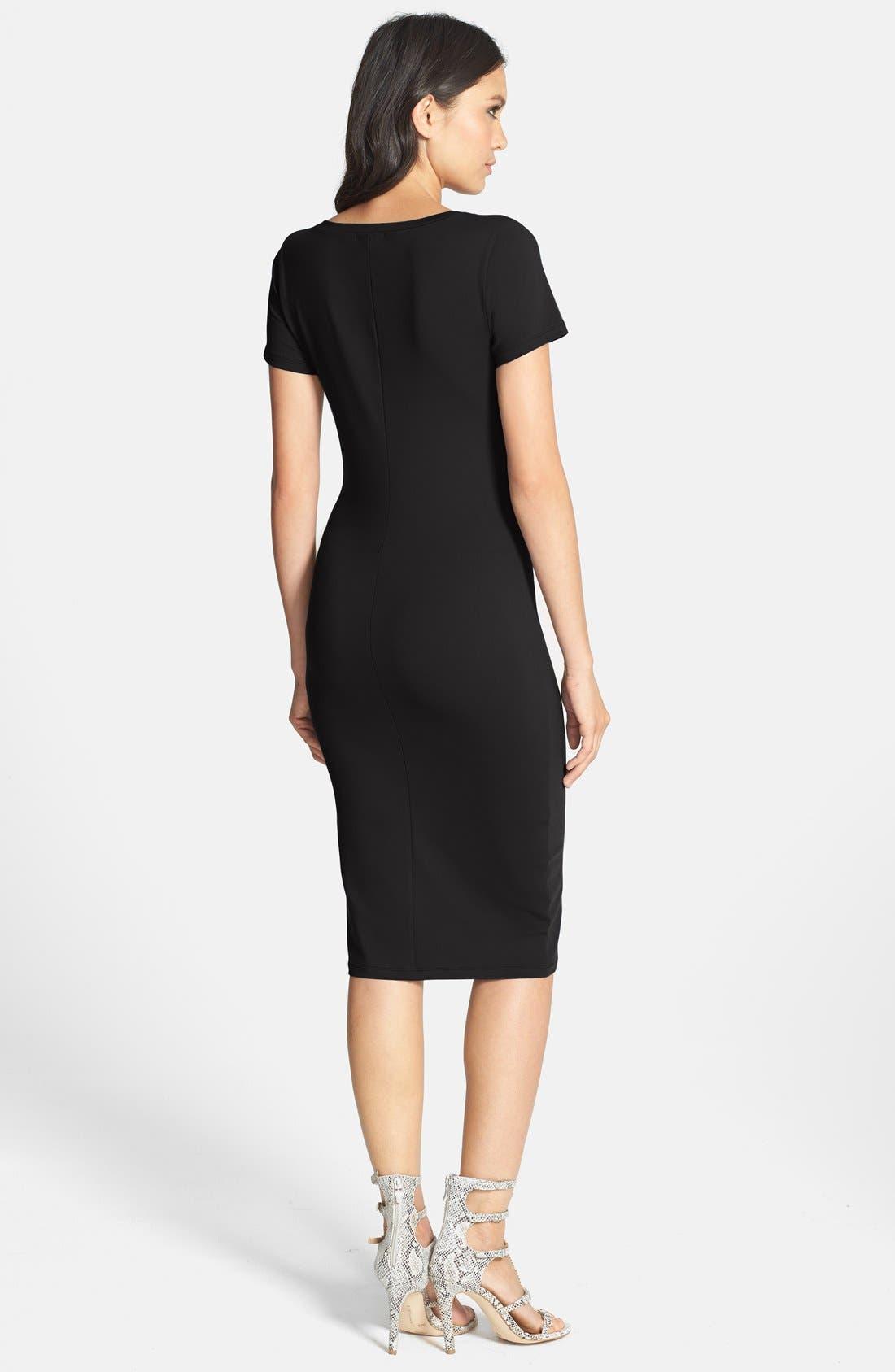 ,                             V-Neck Body-Con Dress,                             Alternate thumbnail 2, color,                             001