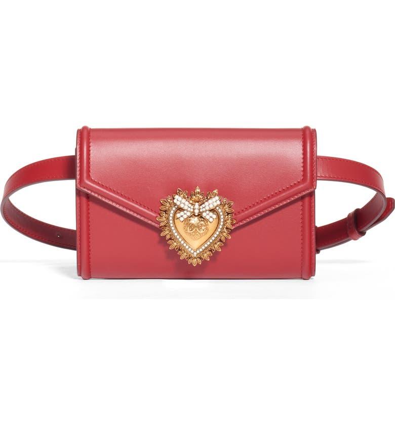 DOLCE&GABBANA Devotion Leather Belt Bag, Main, color, ROSA