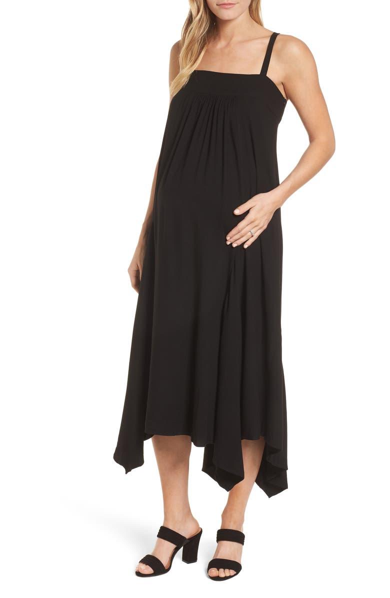 ISABELLA OLIVER Carey Handkerchief Hem Maternity Dress, Main, color, CAVIAR BLACK