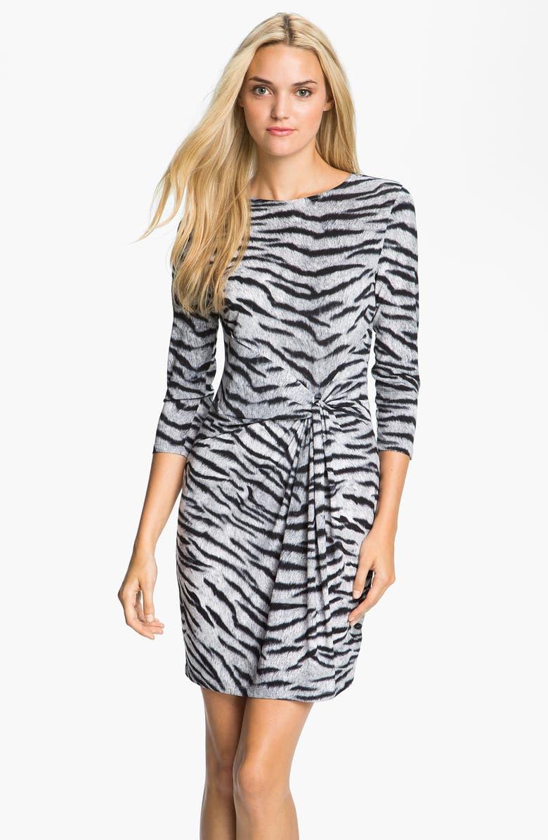 MICHAEL MICHAEL KORS Knot Front Dress, Main, color, 001