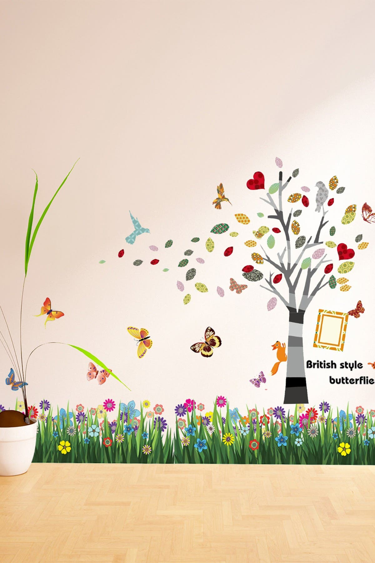 Image of WalPlus Colorful Grass & Butterfly Tree Wall Sticker Set