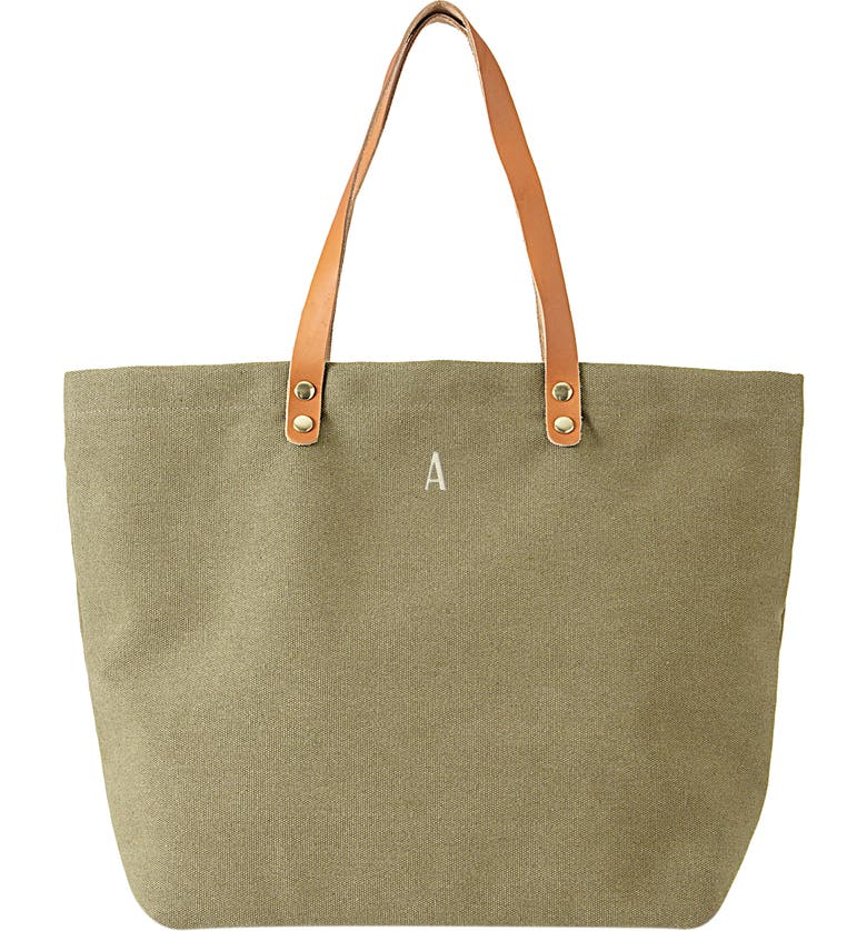 CATHY'S CONCEPTS Monogram Washed Canvas Tote, Main, color, LIGHT GREEN-A