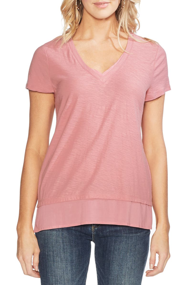 VINCE CAMUTO Layered Look V-Neck Tee, Main, color, 955