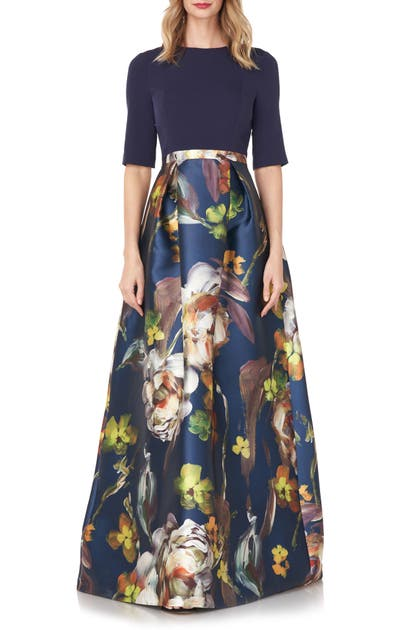 Kay Unger SABRINA FLORAL MIXED MEDIA GOWN
