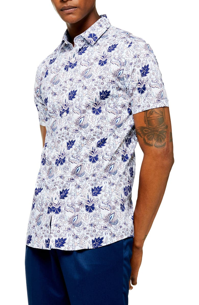 Skinny Fit Floral Short Sleeve Button Up Shirt by Topman