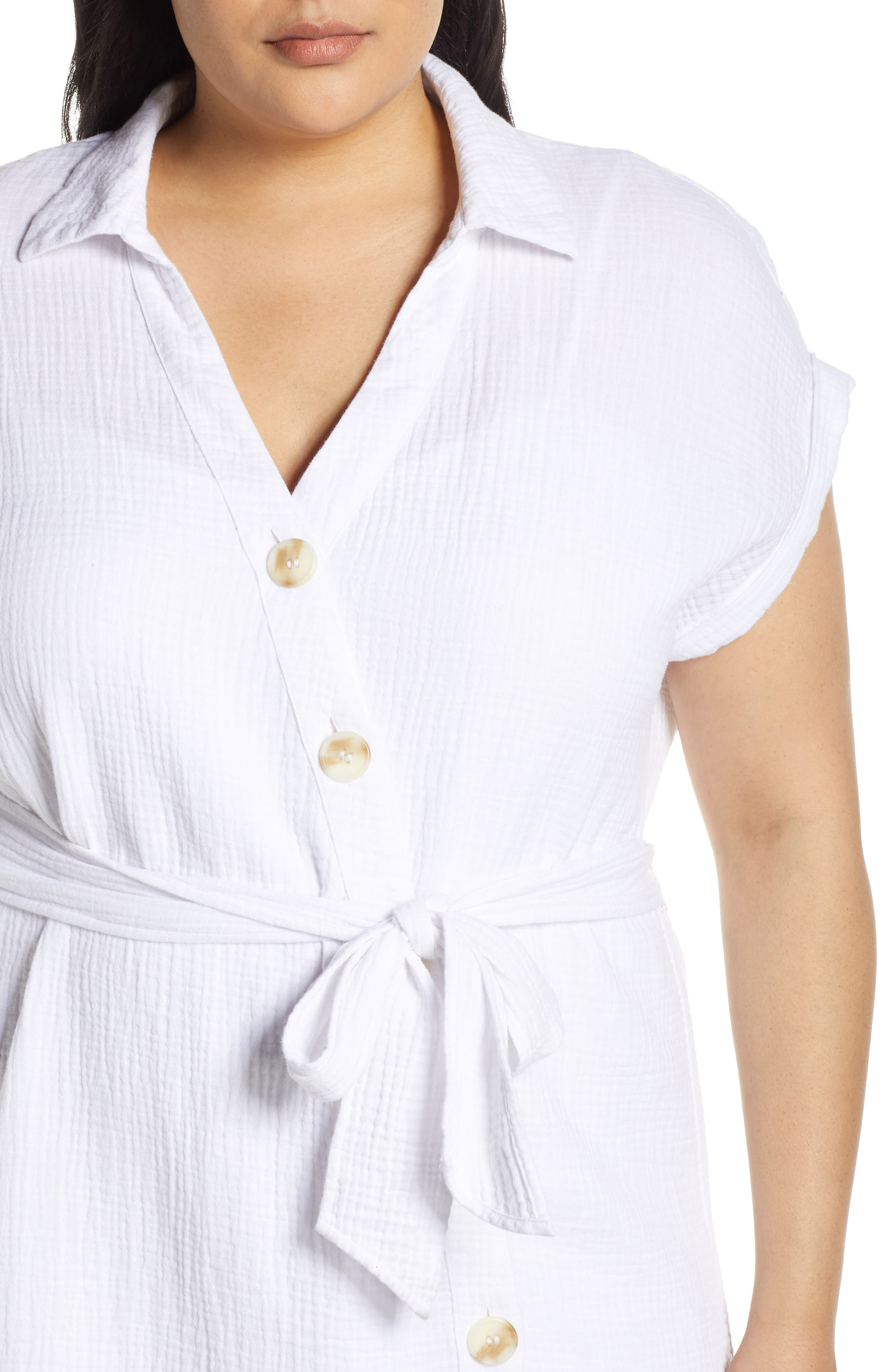 ,                             Asymmetrical Button Down Shirtdress,                             Alternate thumbnail 4, color,                             145 ULTRA WHITE