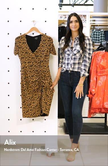 Nicola Leopard Print Side Slit Ruched Dress, sales video thumbnail