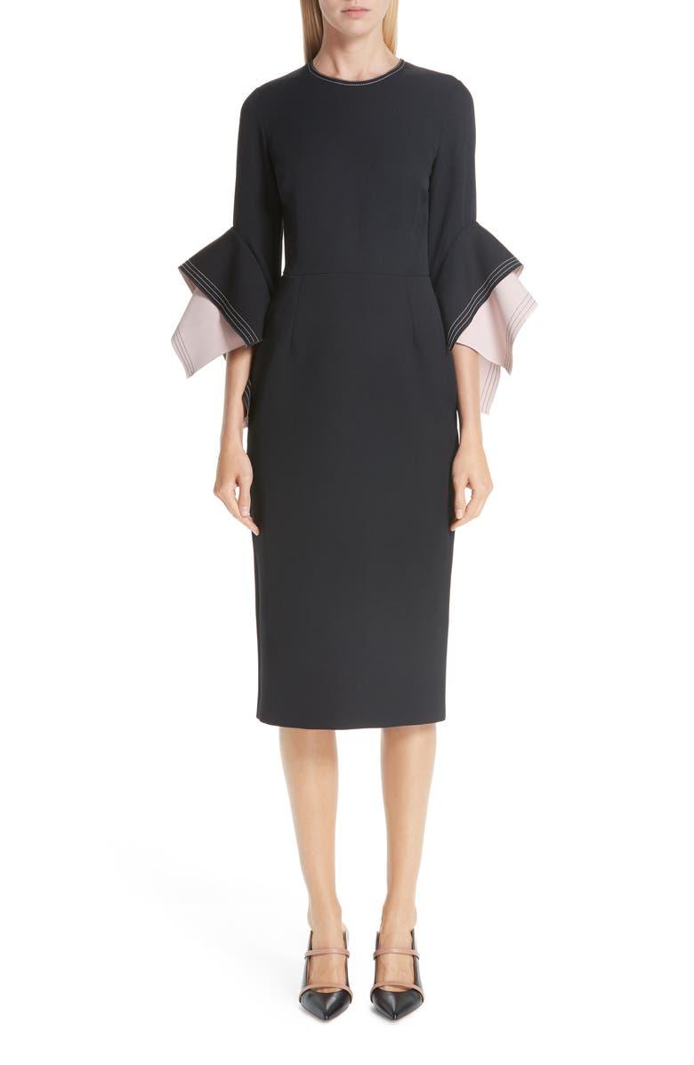 ROKSANDA Bicolor Flutter Sleeve Crepe Sheath Dress, Main, color, BLACK/ BLUSH